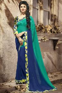 Blue & Green Printed Georgette Sarees