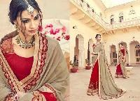 Chikoo & Red Color Embroidered Georgette Sarees