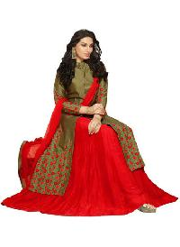 Olive & Red Glace Cotton Indo Western Lehenga Suits