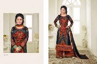 Gray & Red Faux Georgette Semi Stitched Salwar Suits