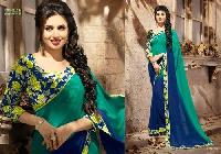 Green & Blue Printed Georgette Sarees
