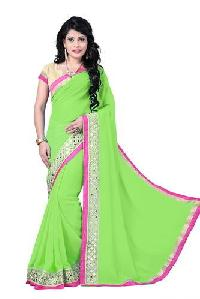 Light Green Color Georgette Embroidery Designer Sarees