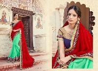 Light Green & Red Color Embroidered Georgette Sarees
