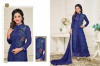 Navy Blue Faux Georgette Semi Stitched Salwar Suits