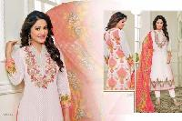 Off White Faux Georgette Semi Stitched Salwar Suits