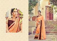 Peach Embroidered Georgette Sarees
