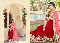 Pink & Red Color Embroidered Georgette Sarees
