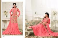 Pink Faux Georgette Semi Stitched Salwar Suits