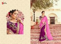 Pink Color Georgette Embroidery Designer Sarees 10
