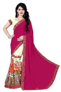 Pink Color Georgette Embroidery Designer Sarees