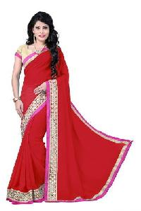 Red Color Georgette Embroidery Designer Sarees 1