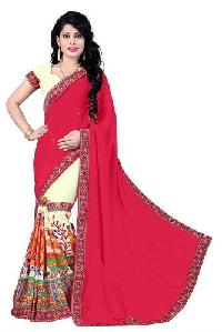 Red Color Georgette Embroidery Designer Sarees
