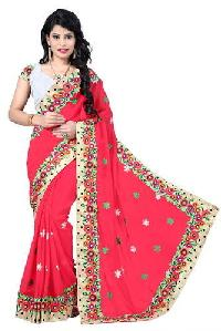 Red Color Georgette Embroidery Designer Sarees 3