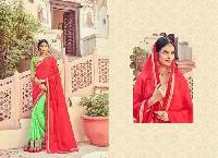 Red & Light Green Embroidered Georgette Sarees