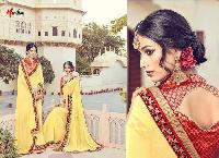 Yellow Color Georgette Embroidery Designer Sarees 10