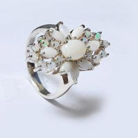Designer Sterling Silver 925  Ring With White Stone