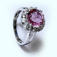 Sterling Silver 925 Radiant Cut Pink Cubic Ring
