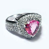 Sterling Silver 925 Radiant Pink Stone Ring