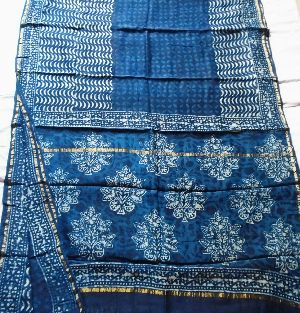 Chanderi Indigo Print Saree 01