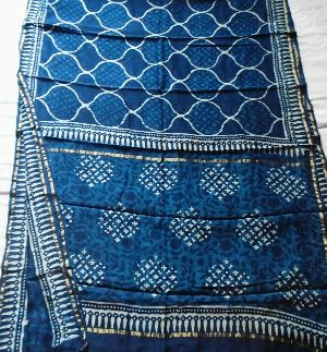 Chanderi Indigo Print Saree 02