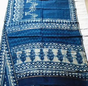 Chanderi Indigo Print Saree 03