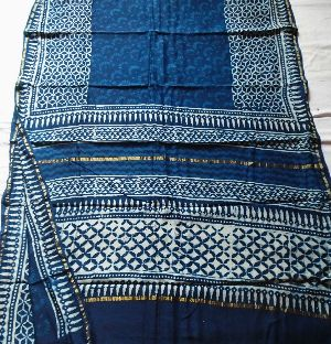 Chanderi Indigo Print Saree 05
