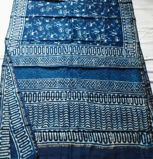 Chanderi Indigo Print Saree 06