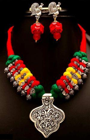 Designer Oxidized Thread Necklace Set