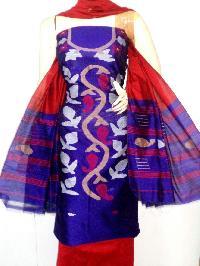 Unstitched Handloom Resham Jamdani Suit 02