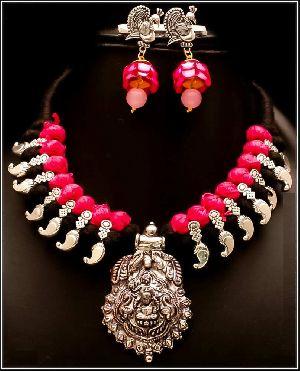 Oxidized Thread Temple Necklace Set 01