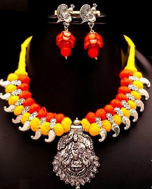 Oxidized Thread Temple Necklace Set 02