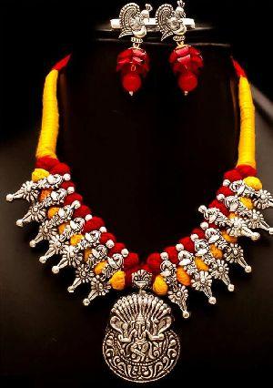 Oxidized Thread Temple Necklace Set 05