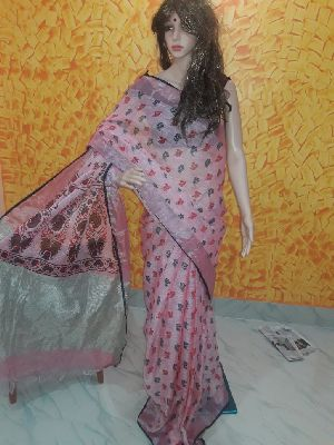 Printed Linen Saree 01