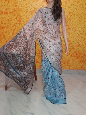 Printed Linen Saree 02