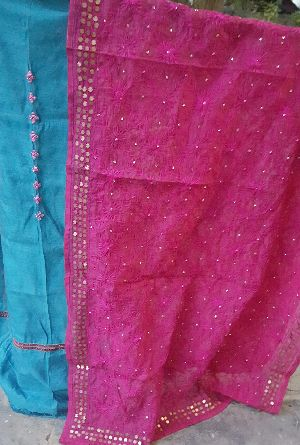 Unstitched Handloom Resham Mirror Work Suit 02