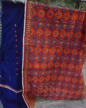 Unstitched Handloom Resham Mirror Work Suit 04