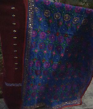 Unstitched Handloom Resham Mirror Work Suit 07