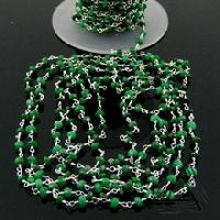 Emerald Faceted Beaded Link Chain Necklace