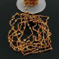 Hessonite Garnet Gemstone Beaded Link Chain