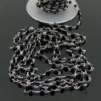 Melanite Garnet Beaded Link Chain