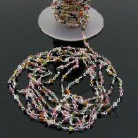 Multi Color Tourmaline Faceted Beaded Link Chain
