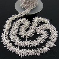 Rose Quartz Beaded Cluster Chain Jewelry Components
