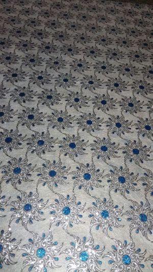 Blue Dot Silver Flower
