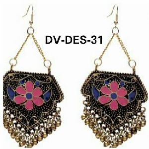 Oxidized Silver Afghani Style Earrings