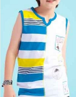 Boys Printed Sleeveless V Neck T-Shirts