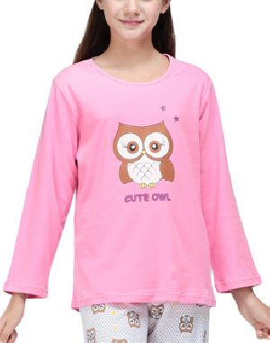 Girls Printed Full Sleeve Round Neck T-Shirts