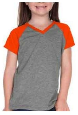 Girls Raglan V Neck T-Shirts