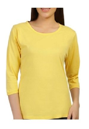 Ladies Plain Full Sleeve Round Neck T-Shirts