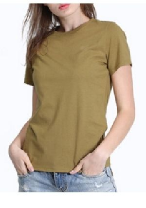 Ladies Plain Half Sleeve Round Neck T-Shirts