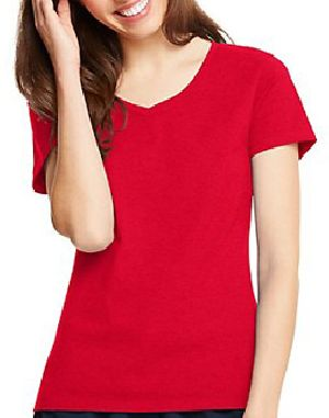 Ladies Plain Half Sleeve V Neck T-Shirts